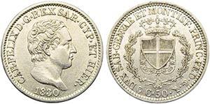 Carlo Felice (1821-1831) - 50 Centesimi - ...