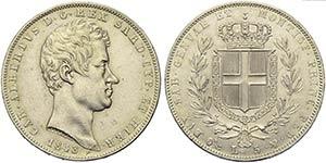 Carlo Alberto (1831-1849) - 5 Lire - 1843 G ...