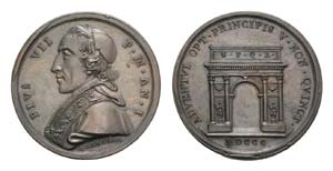 Papal, Pio VII (1800-1823). Æ Medal 1800 ...