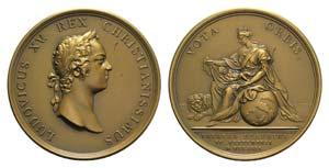 France, Louis XV (1710-1774). Æ Medal 1729 ...