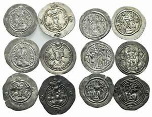 Lot of 6 Sasanian AR Drachms, to be catalog. ...