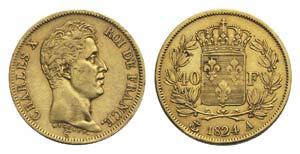 France, Charles X (1824-1830). AV 40 Francs ...