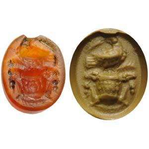 Intaglio romano in corniola. Emblema votivo: ...