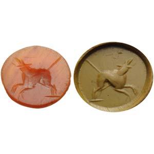 Intaglio romano in corniola. Animale ...