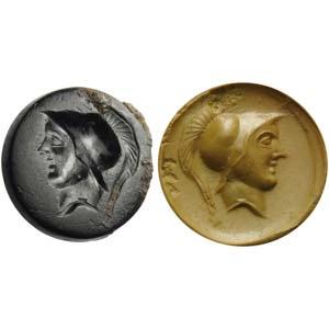 Intaglio romano repubblicano in agata nera. ...