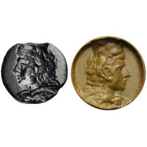 Intaglio romano in calcedonio nero. Busto di ...