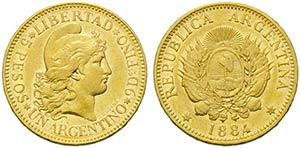 ARGENTINA - Repubblica - 5 Pesos - 1884   - ...