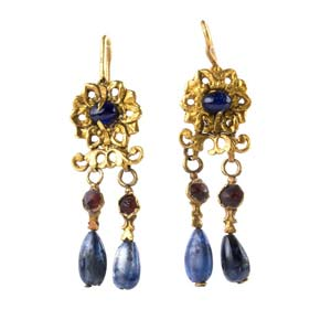 Pair of gold, sapphire and garnet pendant ...
