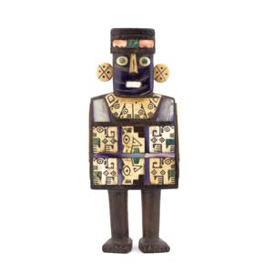 Rare wooden Huari statuette Perù, Moche ...