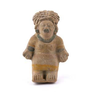 Terracotta female statuette in prayer ...