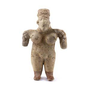 Terracotta female statuette in ...