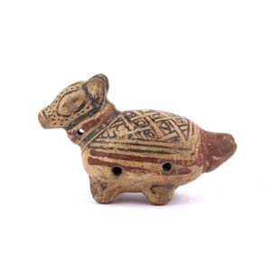 Terracotta dog-shaped ocarina Costa Rica , ...