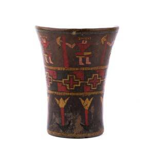 Wooden inlaid half keroPerù, Inca Culture, ...