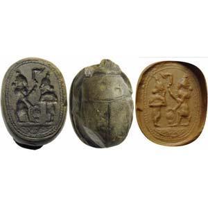 Greek-Phoenician scarab intaglio, grey ...