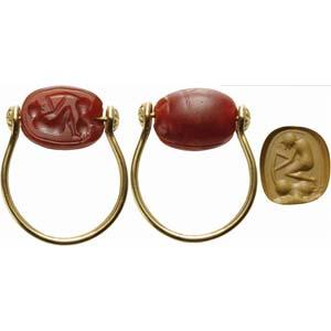 Etruscan intaglio on carnelian scarab set on ...