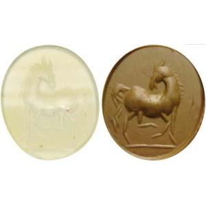 Roman intaglio banded agate. Horse.Roman ...