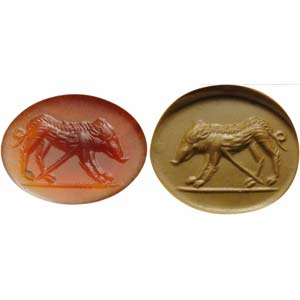 Roman intaglio in red agate. Wounded ...