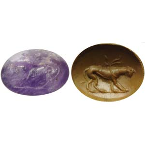 Roman intaglio in amethyst. Panther with ...