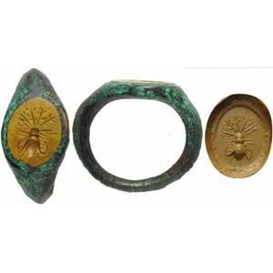 Roman intaglio in yellow jasper set on a ...