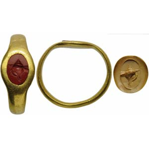 Roman intaglio in red jasper set on a golden ...