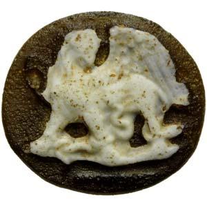 Rare Roman cameo in glass. Griffon and ...