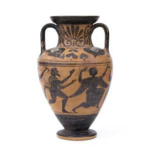 Etruscan black figure neck amphora ...