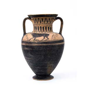 Etruscan black figure neck amphoraAttributed ...