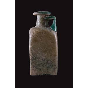 Roman glass square-sided bottle with a ...
