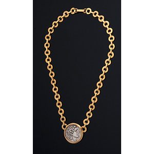 MELIS - 21K gold NECKACE with antique coin ...