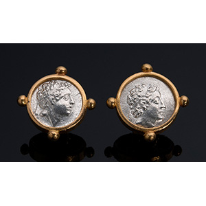 MELIS - 21K gold EARRINGS with antique coins ...