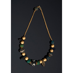 MELIS - 21K gold necklace with ancient glass ...