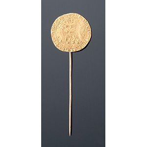 18K gold stick pin with antique coin coin: ...