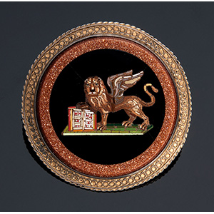 Silver gilt mounted micromosaic brooch, ...