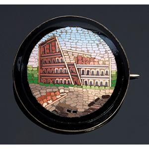 Round metal mounted micromosaic brooch, ...
