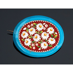 Micromosaic brooch with beautiful daisies ...