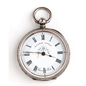 Solid  935‰ Silver pocket watch, H.E.PECK ...