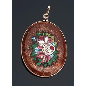 Art Nouveau micromosaic floral pendent with ...