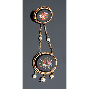18K GOLD BROOCH WITH MICROMOSAIC AND ...