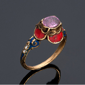 18K yellow gold & ruby ring, 19th Century ...