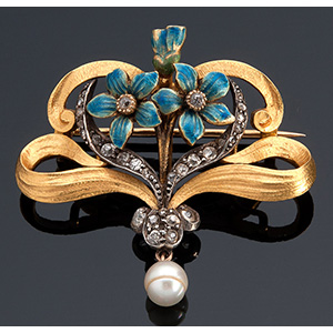 18K gold brooch, 19th Century liberty style ...