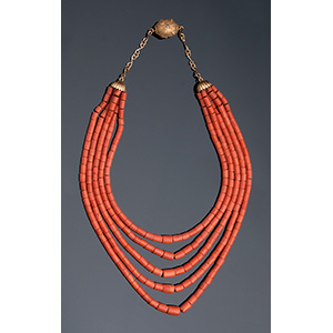 18K gold coral necklace 5 strands of coral, ...