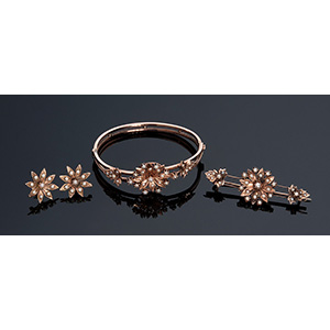 14k yellow gold floral bracelet, brooch & ...