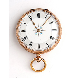 Solid  14K gold pocket watch.  the case is ...