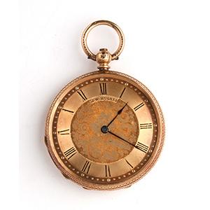 Solid 18K gold pocket watch,  J.W.Hughes of ...