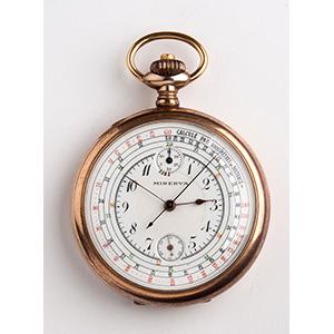 Chronograph pocket watch, MINERVA the white ...