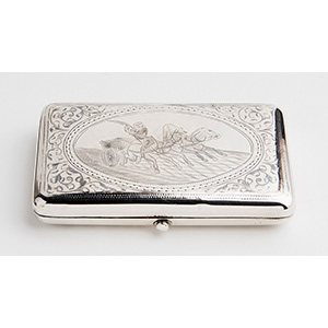 Silver and Niello sigarette case,  MOSCOW  ...