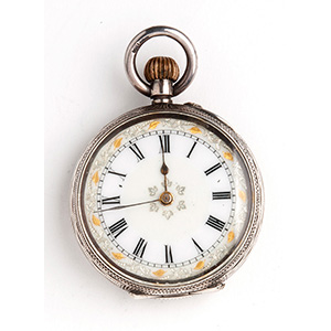 Solid  800‰ Silver pocket watch the case ...