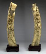 PAIR OF CARVED IVORY FIGURES OF EMPEROR ...