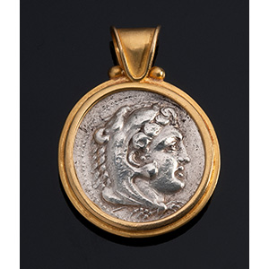 MELIS - 21K gold pendant with ancient coin: ...