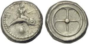 Apulia, Tarentum, Nomos, ca. 480-470 BC; AR ...